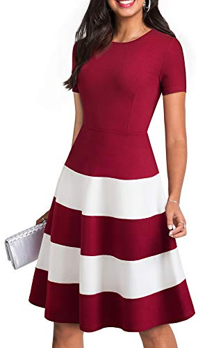HOMEYEE Women Vintage Patchwork Striped Casual Swing Dress A142(12,Dark Red+White)