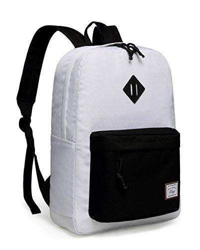 White Teen Boy (School Backpack, Kasqo Unisex Water-Resistant Teen Rucksack Travel Daypack)