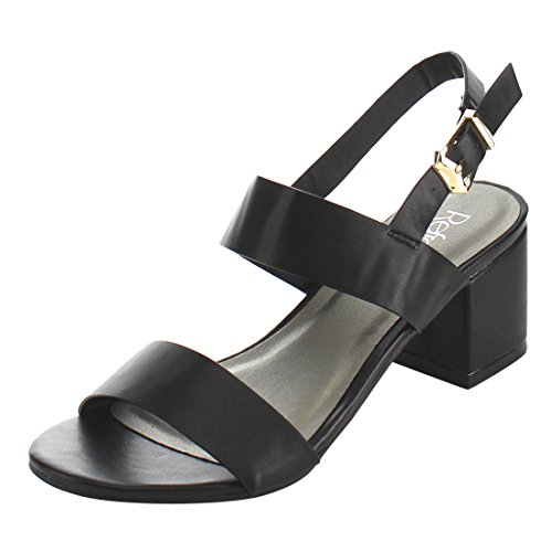 Black ID91 Block Sling Double Sandal Heel Back Strap Dress Refresh Women's ZqwdvZB