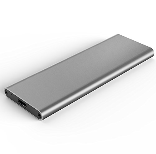 Aluminum M.2 NGFF to USB 3.1 M.2 SSD Enclosure External SSD Enclosure SATA Based M.2(Grey) by Generic (Image #1)