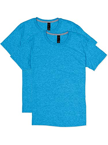 Hanes Men's 2 Pack X-Temp Performance T-Shirt, Neon Blue Heather, ()