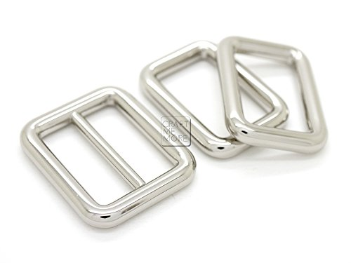CRAFTMEmore 1SET Metal Purse Slider and Loops Set 1PC Slide Buckle with 2PCS Rectangular Rings Leather Craft (1 inch, Silver)