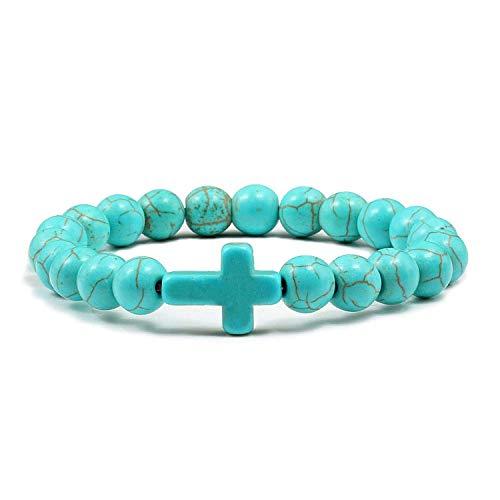 8mm Prayer Natural Stone Green Blue Turquoises Bracelets for Women Jesus Cross Charms Elasticity Yoga Bracelet Men Jewelry,Blue -