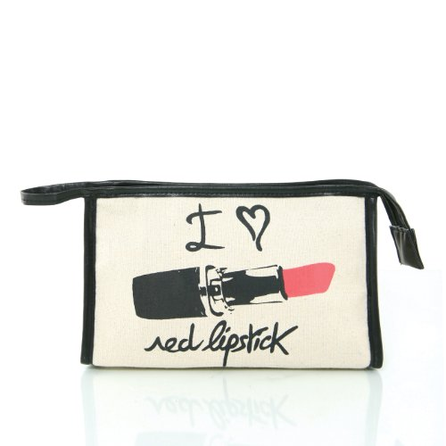 "Fashion ""I Love Red Lipstick"" Canvas Beauty Cosmetic Make-up Pouch Bag Purse"
