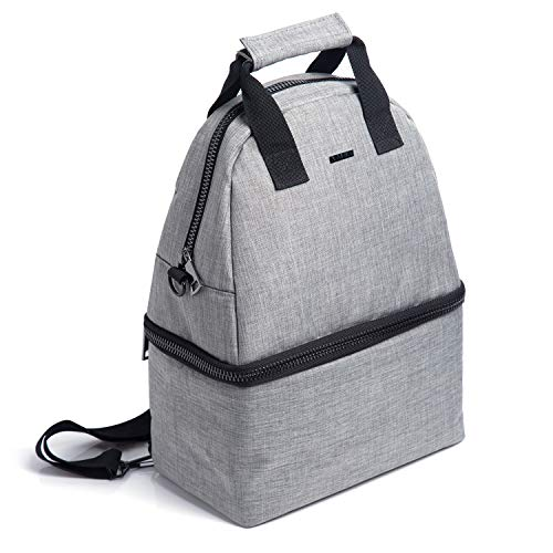- PuTwo Lunch Bag 14L Insulated Cooler Backpack Bag 2 Compartments Leakproof Lunch Tote with Adjustable Shoulder Strap Cooler Backpack Bag for Kid Adult Men Women Lunch Cooler Bag for Picnic Work - Gray
