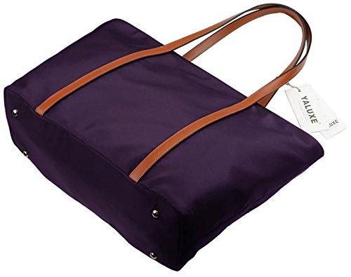 Work Purple Nylon Oxford Shoulder Tote Large Purple Women's Purse Capacity Brown Bag YALUXE Travel Black XxSwa7R