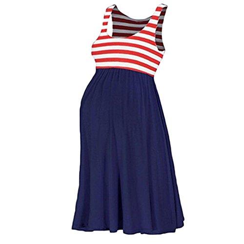 Challyhope Women O-Neck Pregnant Dress Casual Maternity Stripe Splice Swing Tank Dress (XL, Navy)