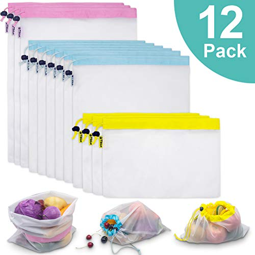 12PCs Reusable Mesh Produce Bags, See Through Washable Mesh Shopping Grocery Bag for Merchandise & Fruit Vegetable Toy Storage with Bright Tare Weight on Tags, Tear-resistant, Eco-Friendly (3S+6M+3L)
