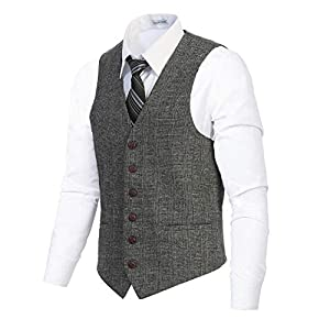 Gioberti Men's 6 Button Slim Fit Formal Herringbone Tweed Vest