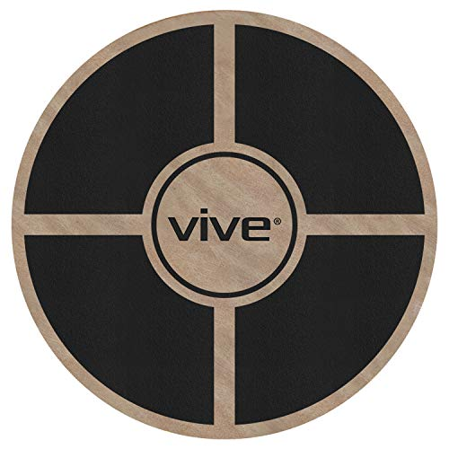 (Vive Wobble Board - Wooden Self Balance Stability Platform - Balancing Wood Twist Trainer for Physical Therapy, Fit Abs, Arms, Legs, Core Tone, Surf, Skateboard, Gymnastics, Ballet, Exercise & Kids)