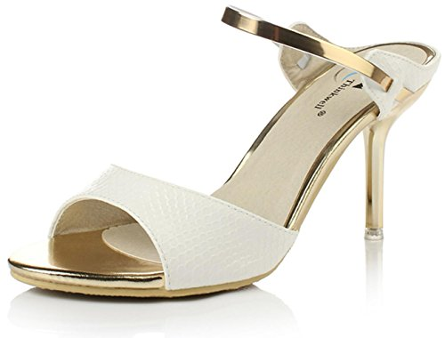 YCMDM Damen Sandalen Sommer Sandalen PU Casual Stiletto Heel weiß schwarz , white , us5.5 / eu36 / uk3.5 / cn35