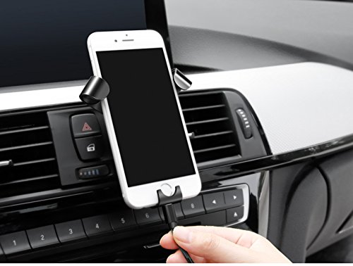 Car Air Vent Mount 360° Rotation Car Phone Holder with Gravity Linkage Design Automatically Tighten for 4-6 Inch Mobile Phone - Black