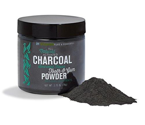 Dents blanchissant naturel & gomme en poudre avec du charbon activé, 2,75 oz - saveur de menthe verte