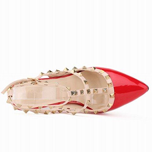 SAMSAY Red Heels Slender Pointed High Hot Strap Rivet Toe Pumps Sandals Dress Women's awA1axqB