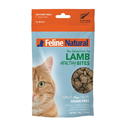 Freeze Dried Cat Treats Feline Natural - Perfect Grain Free, Healthy, Hypoallergenic Limited Ingredients Snacks All Cat Types - Raw, Freeze Dried Treats - Natural Lamb Bites - 1.76oz Pack