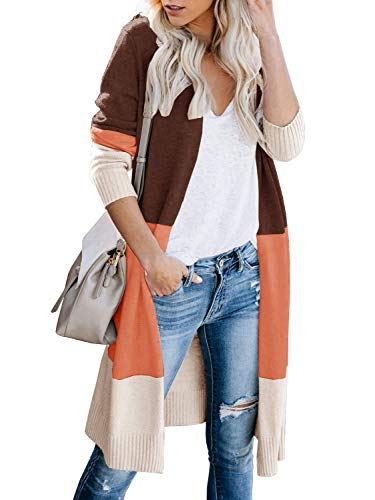 Womens Open Front Long Sweater Cardigans Boho Long Sleeve Color Block Knit Lightweight Kimono Duster Coats (Small, Za-Brown)