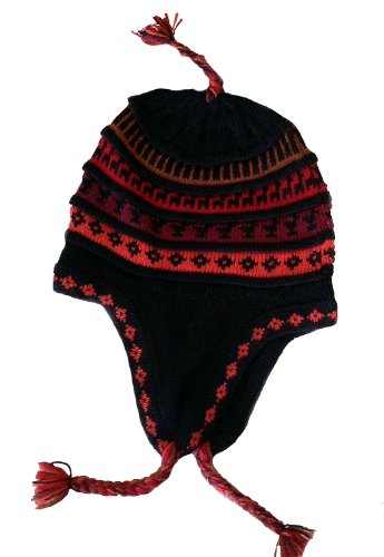 - Alpakaandmore Unisex Andean Alpaca Wool Chullo Hat Ear Flips One Size Red (One Size)