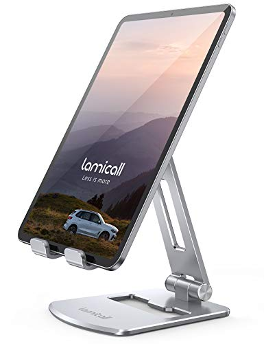 "Lamicall Adjustable Tablet Stand Holder - Foldable Tablet Dock, 360 Degree Rotating Desktop Tablet Mount, Compatible with iPad Pro 11 / 12.9, Mini, Air, Tabs, Kindle and 4.7"" - 13"" Tablet - Silver"