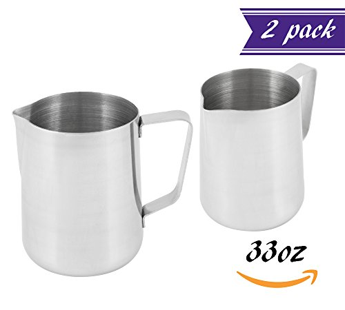 (Set of 2) 1 Quart Milk Frothing Pitcher, 32-Ounce / 1 Liter. Large Milk Pitcher by Tezzorio, Stainless Steel Milk Steaming Frothing Pitchers for Espresso Machines, Milk Frother / Latte Art