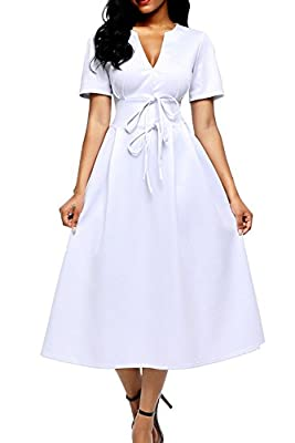 Alvaq Women Split V Neck Short Sleeve A Line Skater Dress