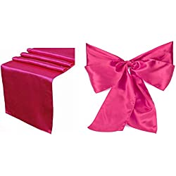 Elina Home Combo Satin 2 Table Runner & 10 Bow Sashes Tablerunner and Chair Wedding, Magenta