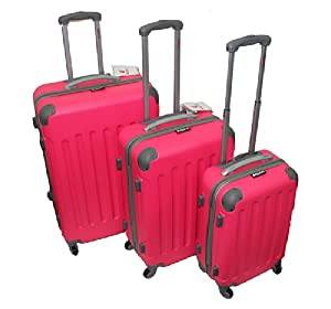 Amazon.com : Dejuno ABS Pink Hard Case 3-pc Rolling Spinner ...