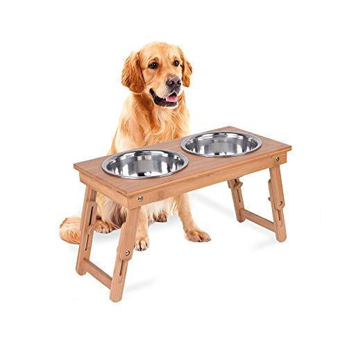 Adjustable Dog Bowl - KINGLAND Raised Pet Bowls for Cats and Dogs Bamboo Elevated Pet Feeder Stand with 2 Stainless Steel Bowls for Food and Water