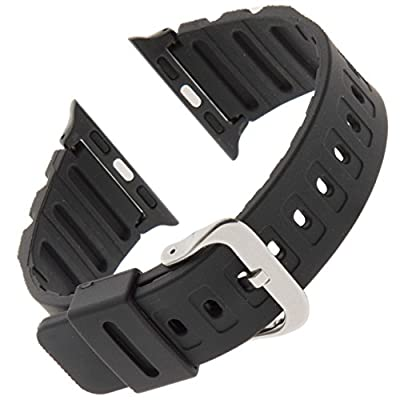 Gilden for Apple 38mm Extra-Long Black Waterproof Polyurethane Watch Band 017270-SMART from Gilden