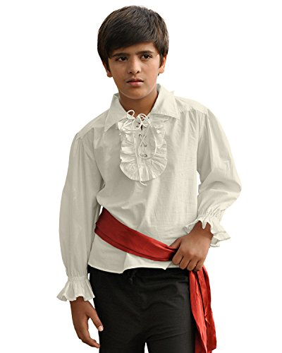 ThePirateDressing Kids Pirate Medieval Renaissance Medieval Cosplay Costume 100% Cotton Captain Kennit Shirt C1255 (Off-White) (X-Large) -