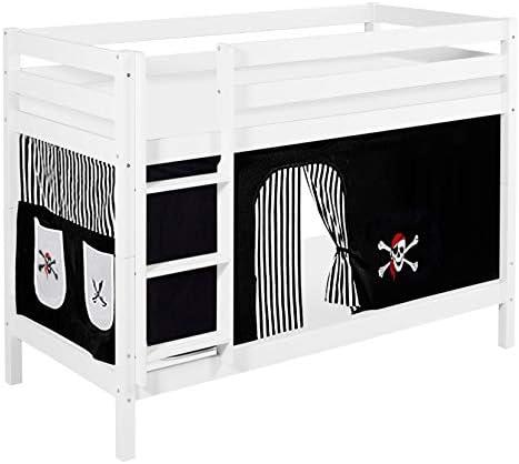 Lilokids Litera Jelle con aprobación TÜV y GS, diseño Pirata, Cama Alta con Cortina y somier, Cama Infantil: Amazon.es: Juguetes y juegos