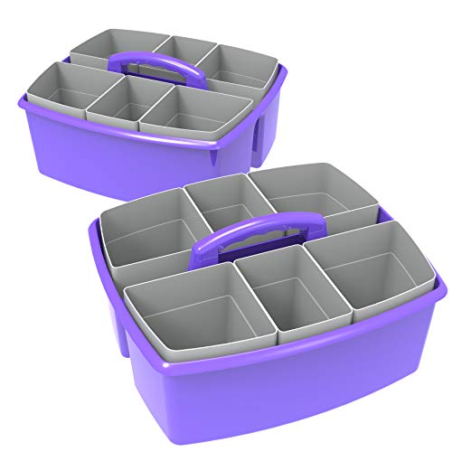 Storex Large Classroom Caddy with Cups, 13 x 11 x 6.575 Inches, Purple, Case of 2 (00986U02C)