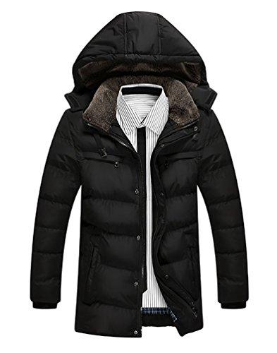 Outwear Baymate Medio lungo Cappuccio Uomini Con Caldo Addensare Nero R4x4SqOw
