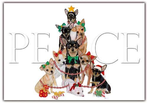 Chihuahua Christmas Cards : 10 Holiday Cards with Envelopes Chihuahua Christmas Cards