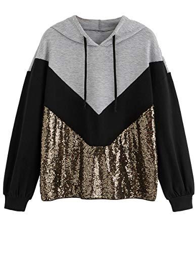 ROMWE Women's Hoodies ColorBlock Long Sleeve Drawstring Sequined Pullover Hooded Sweatshirt Multicolor XS