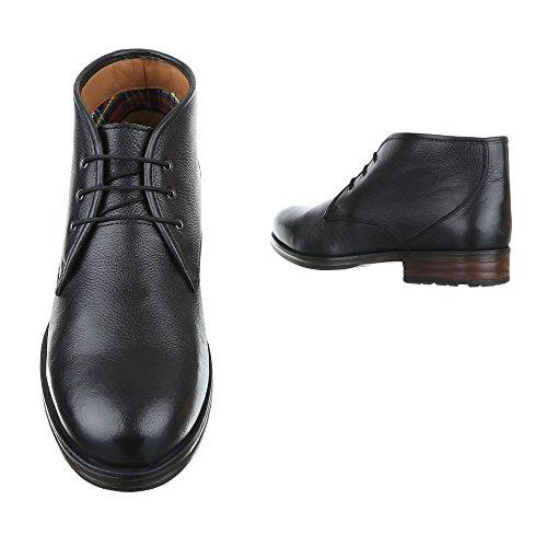 Stiefeletten Herren Leder Schuhe Chelsea Boots Blockabsatz Schnürer Schnürsenkel Ital-Design Boots Schwarz