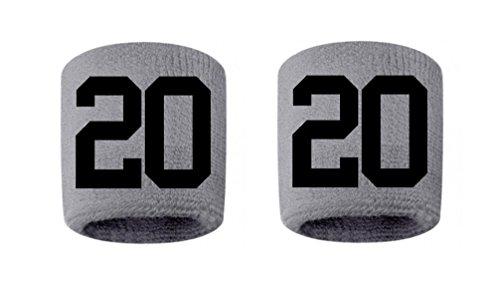 #20 Embroidered/Stitched Sweatband Wristband GRAY Sweat Band w/ BLACK Number (2 Pack)