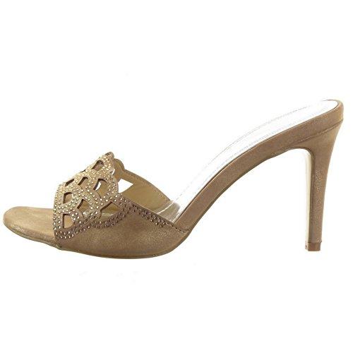 Sopily - Zapatillas de Moda Tacón escarpín Sandalias Stiletto Tobillo mujer strass Perforado Talón Tacón de aguja alto 8.5 CM - Oro