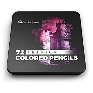 Castle Art Supplies 72 Colored Pencils Set for Coloring Books - New and Improved Premium Artist Soft Series Lead with Vibrant Colors