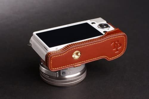Handmade Genuine real Leather Half Camera Case bag cover for Sony NEX-3N NEX3N NEX-3NL NEX3NL Brown color
