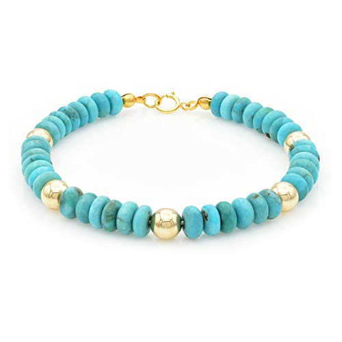 Bluejoy Jewelry Genuine Natural Turquoise Bracelet 6mm Rondelle Beads with Gold-Plated Bead Spacer & Lobster Clasp