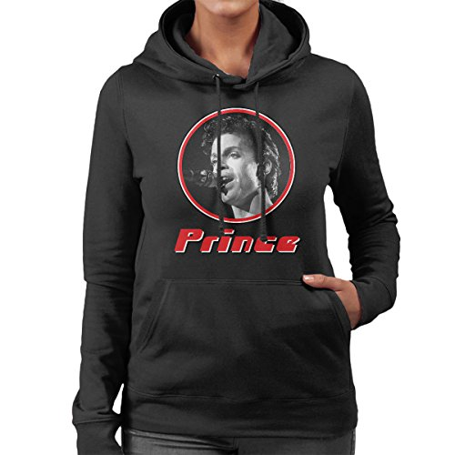 Prince Monochrome Retro Photo Frame Women's Hooded Sweatshirt Black