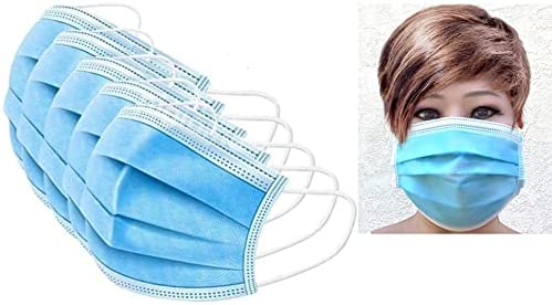 Royalera 50 pcs Disposable Face Mask 4 Ply Blue with Bendable Nose Wire Elastic Ear Loops 4 Layers Protection Made in Vietnam Unisex Adults USA Stock