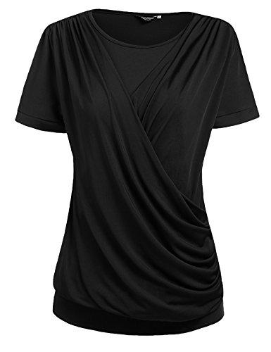 Zeagoo Womens Round Neck Stretchy Drape Front Tunic Blouse,Black,Large