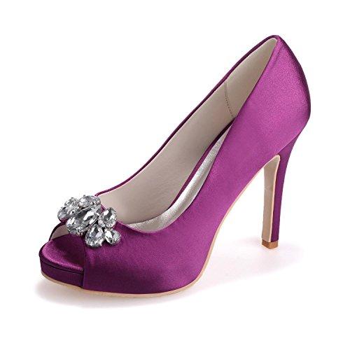 L@YC Women'S Wedding Shoes 6041-02 Peep Toe Silk High Heels/Lace Rhinestone/Large Size Customization Purple f0EIGKv