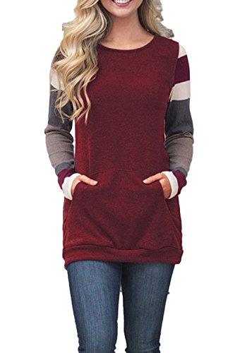 - HARHAY Women's Cotton Knitted Long Sleeve Lightweight Tunic Sweatshirt Tops WineRed XL