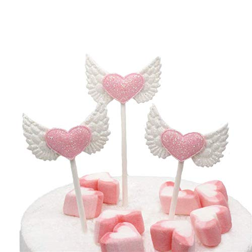 Astra Gourmet 24 Pcs Angel Wings Pink Heart Cupcake Picks Birthday Cake Toppers for Baby Shower Decoration Wedding Party Supplies