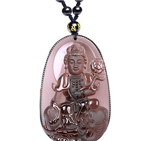 Natural ice kind of Obsidian Statue of Bodhisattva Kwan-Yin Guan Yin Statue necklace pendant