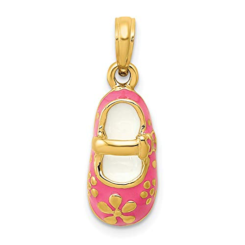 Mireval 14k Yellow Gold Pink Enameled Baby Shoe Pendant (7 x 22 mm) ()