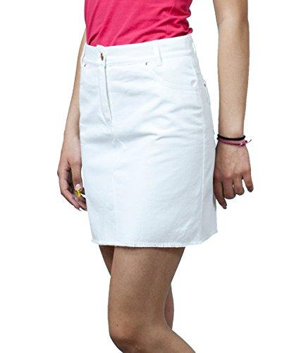 Damen Freizeit Rock Boutique Bleistift Knielangen Weiß Denim Rock 36 38 40 42 44 46 48 50 549uV5I