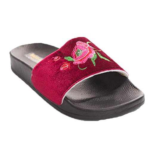 Soho Shoes Womens Open Toe Rose Embroidered Faux Fur Slide Slippers Wine Velvet QhkmXZK6j5